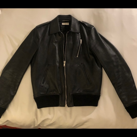 b4987cd85 Saint Laurent Classic Black Leather Bomber Jacket